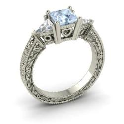 aquamarine and vs diamond ring in 14k white gold 185 cttw - Aquamarine Wedding Rings