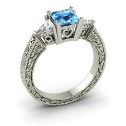 Blue Topaz Engagement Ring In 14k White Gold With VS Diamond   Esperance