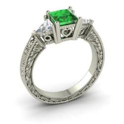 emerald engagement ring in 14k white gold with vs diamond 18 cttw - Emerald Wedding Rings