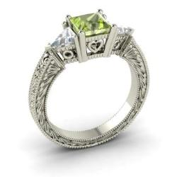 peridot engagement ring in 14k white gold with vs diamond 19 cttw - Peridot Wedding Rings