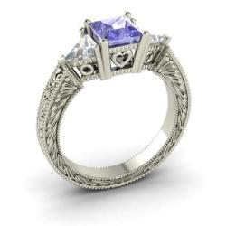 diamond style gold natural cushion engagement rings new tanzanite ring white item