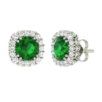 Emerald And I Diamond Studs Earring In 10k White Gold