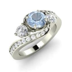 14k white gold with aquamarine si diamond si diamond - Aquamarine Wedding Rings