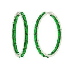 Emerald Earrings In 14k White Gold Eustace