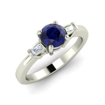 2545daf1f136 Sapphire and VS Diamond Sidestone Ring in 14k White Gold