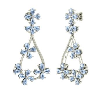 Pear Cut Aquamarine Chandelier Earring In Platinum