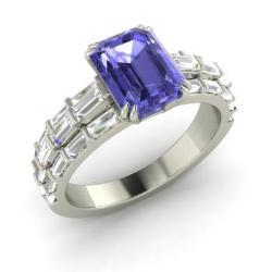 tanzanite engagement ring in 14k white gold with vs diamond 299 cttw - Tanzanite Wedding Rings