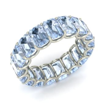 Emerald Cut Aquamarine Wedding Ring In Sterling Silver