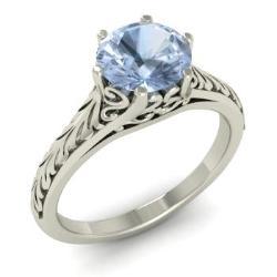 Aquamarine Engagement Ring In 14k White Gold Fairy