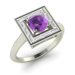 amethyst engagement ring in 14k white gold with vs diamond 128 cttw - Amethyst Wedding Rings