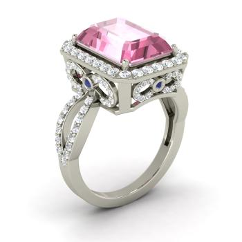 Emerald Cut Pink Tourmaline Halo Ring In 14k White Gold With Shire Vvs Diamond