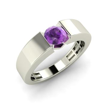 Fia Mens Ring with Round Amethyst 04 carat Round Amethyst Mens