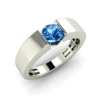 Fia Men S Ring With Round Blue Topaz 0 4 Carat Round Blue Topaz