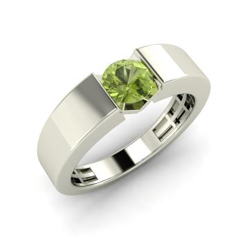 Fia Mens Ring with Round Peridot 04 carat Round Peridot Mens