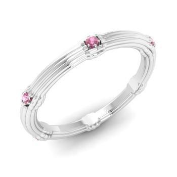 Pink Tourmaline Wedding Ring In Platinum