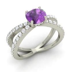 Amethyst Engagement Ring in 14k White Gold with SI Diamond (1.63 ct.tw.