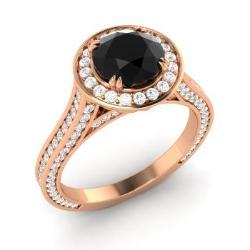 Black Diamond Engagement Rings in 18k Rose Gold Black Diamond