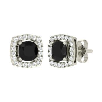 80e47ba65 Cushion-Cut Black Diamond and Diamond Studs Earring in 14k White Gold