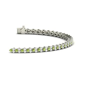 Peridot And Diamond Tennis Bracelet In 14k White Gold