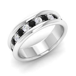 Black Diamond And Diamond Wedding Ring In 14k White Gold   Fritz