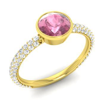 Pink Tourmaline And Diamond Sidestone Ring In 18k Yellow Gold