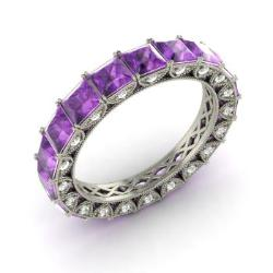 amethyst and diamond wedding ring in 14k white gold 349 cttw - Amethyst Wedding Rings
