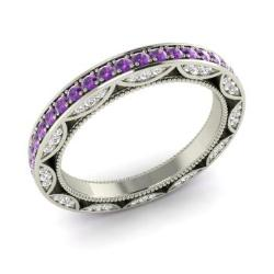 amethyst and diamond wedding ring in 14k white gold 103 cttw - Amethyst Wedding Ring
