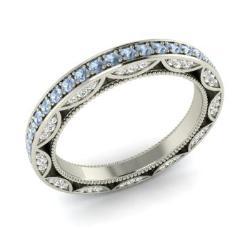 Aquamarine And Diamond Ring In 14k White Gold Ginger