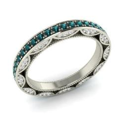 blue diamond and diamond wedding ring in 14k white gold 103 cttw - Blue Diamond Wedding Rings