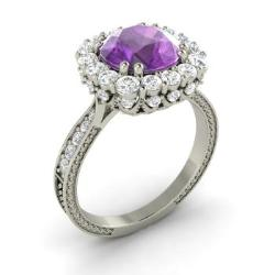 amethyst engagement ring in 14k white gold with si diamond 229 cttw - Amethyst Wedding Rings