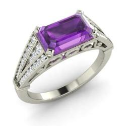 amethyst engagement ring in 14k white gold with si diamond 166 cttw - Amethyst Wedding Rings
