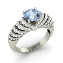 aquamarine engagement ring in 14k white gold with si diamond 183 cttw - Aquamarine Wedding Rings