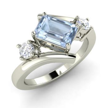2c367797792 Emerald-Cut Aquamarine and Diamond Three stone Engagement Ring in 14k White  Gold