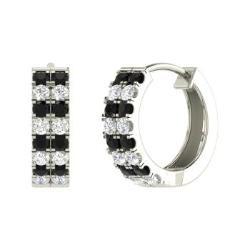 Black Diamond And Earrings In 14k White Gold Gloree