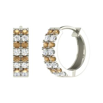 Brown Diamond And Vs Hoops Earring In 14k White Gold