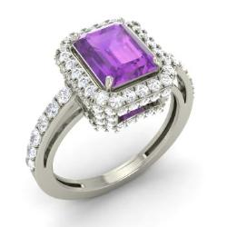 amethyst engagement ring in 14k white gold with si diamond 218 cttw - Amethyst Wedding Rings