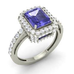 tanzanite engagement ring in 14k white gold with si diamond 218 cttw - Tanzanite Wedding Rings