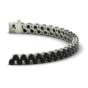 Black Diamond Tennis Bracelet In 14k White Gold
