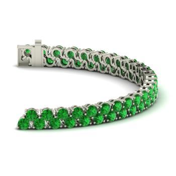Emerald Tennis Bracelet In 14k White Gold