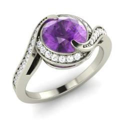 Amethyst Engagement Ring in 14k White Gold with SI Diamond (1.39 ct.tw.