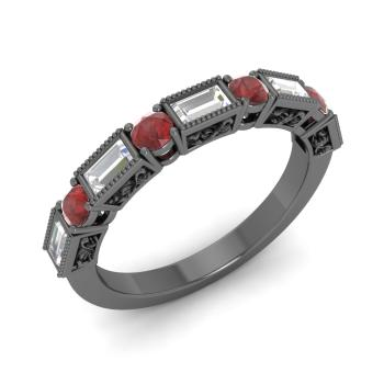 garnet and vs diamond wedding ring in 18k black gold - Garnet Wedding Rings