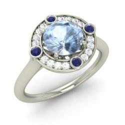 Aquamarine Engagement Ring in 14k White Gold with Sapphire, SI Diamond  (1.52 ct.
