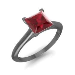 Customize 21 handcrafted Princess Cut Ruby Engagement Rings in 18k Black Gold. Our Natural Ruby is of the highest AAA quality. Match it with a band for him and