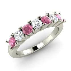 Pink Sapphire And Diamond Wedding Ring In 14k White Gold 086 Cttw