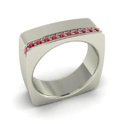 Ruby Mens Ring In 14k White Gold 056 Cttw