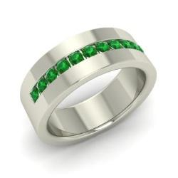 a3ae64ea26f43 Emerald Men's Wedding Bands | Emerald Men's Rings | May Birthstone ...