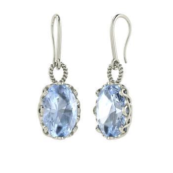 Oval Cut Aquamarine Drops Earring In Sterling Silver