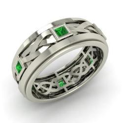 Emerald Men S Ring In 14k White Gold Jean