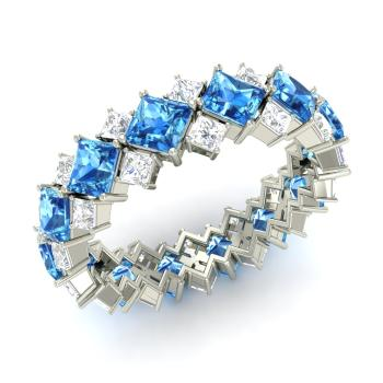 Princess cut blue topaz wedding bands