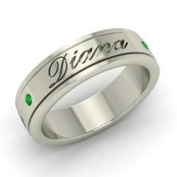 Emerald Men S Ring In 14k White Gold Jermaine
